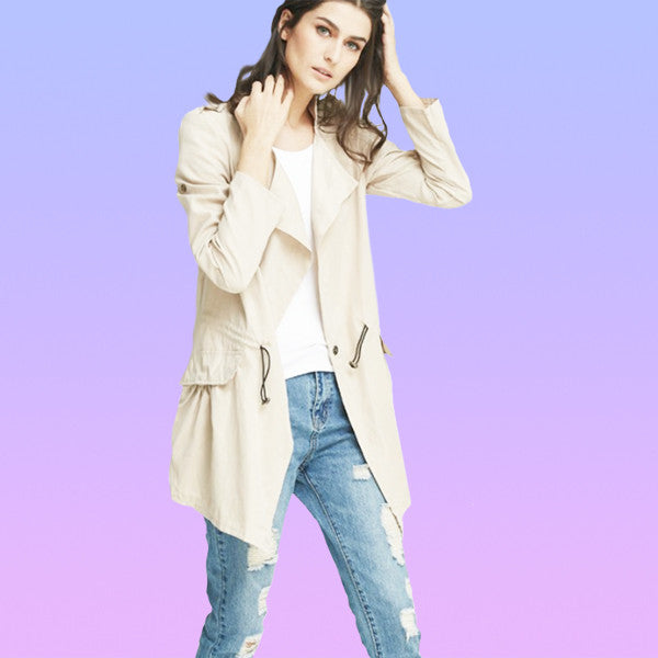 Trenchcoat Style Lightweight Khaki Windbreaker - Very Peachy Clothing