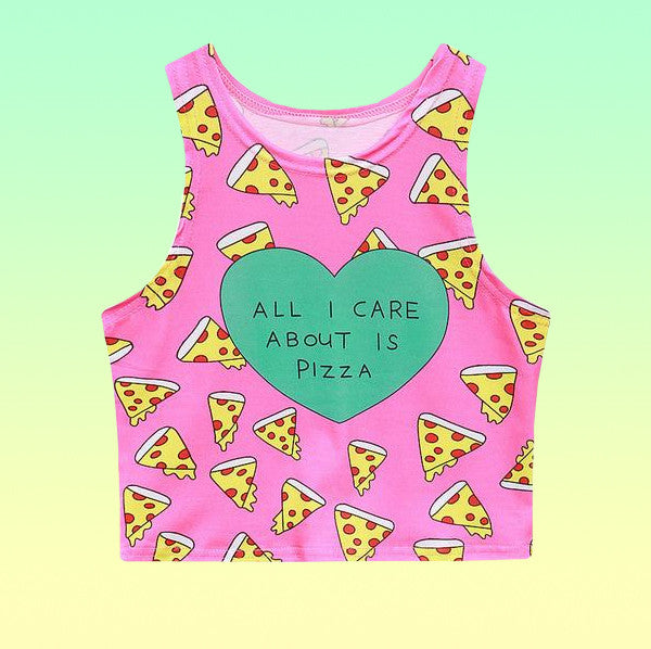 ALL I CARE ABOUT IS PIZZA Crop Tank Top - Very Peachy Clothing