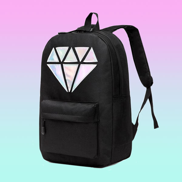 Canvas Holographic Diamond Backpack - Very Peachy Clothing