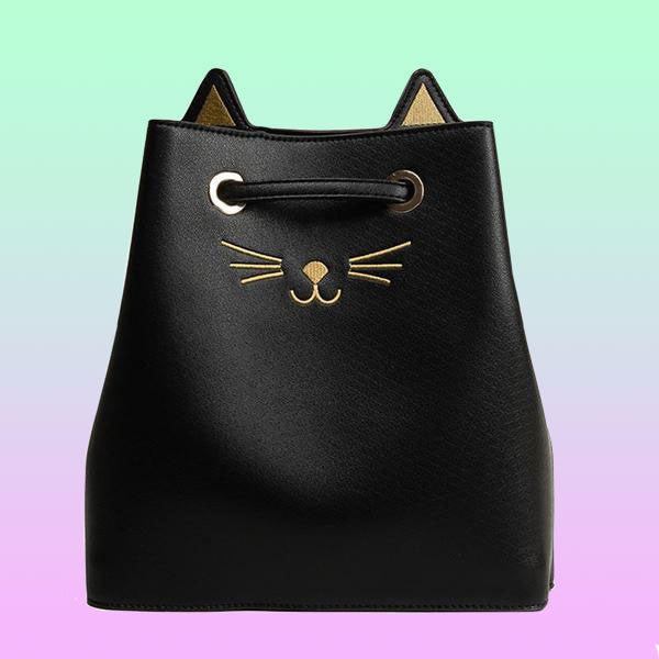 Faux Leather Cat Crossbody Bucket Bag - Very Peachy Clothing