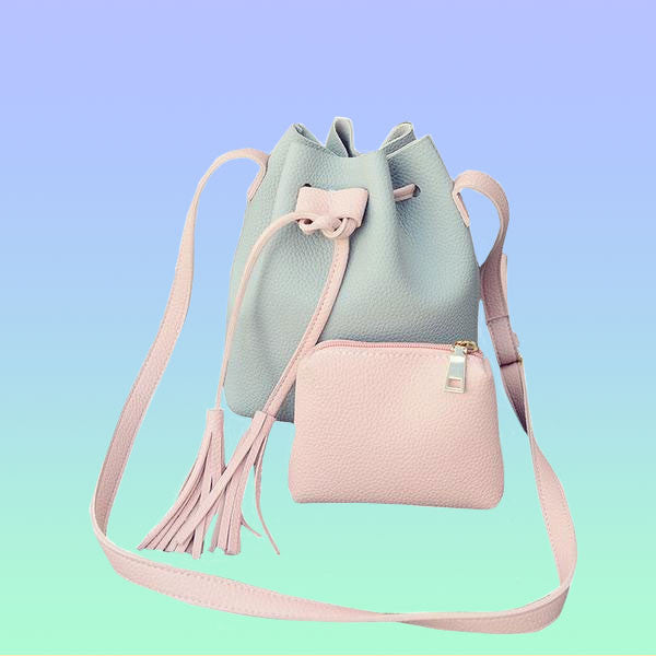 Pastel Colorblock Bucket Crossbody Bag - Very Peachy Clothing