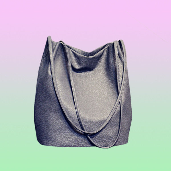 Faux Leather Tote Bag - Very Peachy Clothing