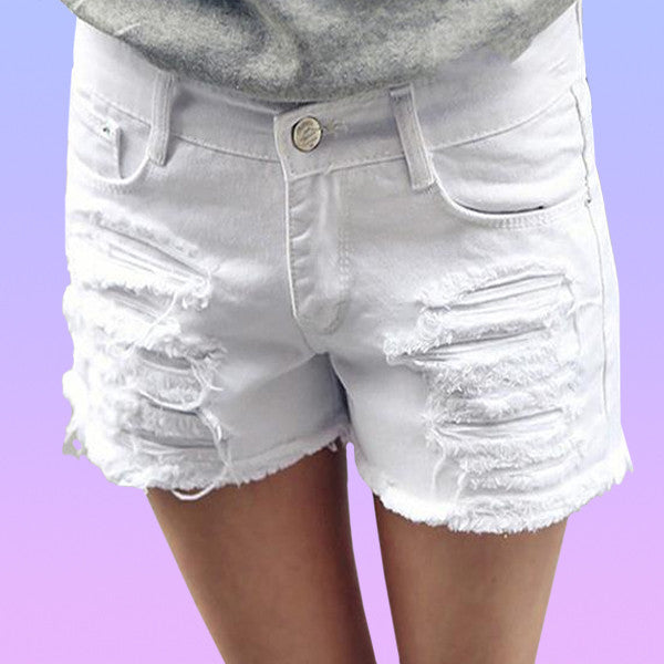 Distressed Denim Cut Off Shorts - Very Peachy Clothing