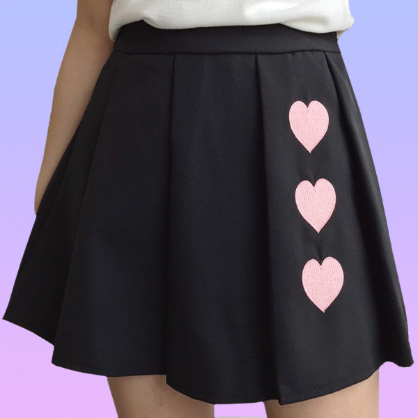 Pleated Heart Skirt - Very Peachy Clothing