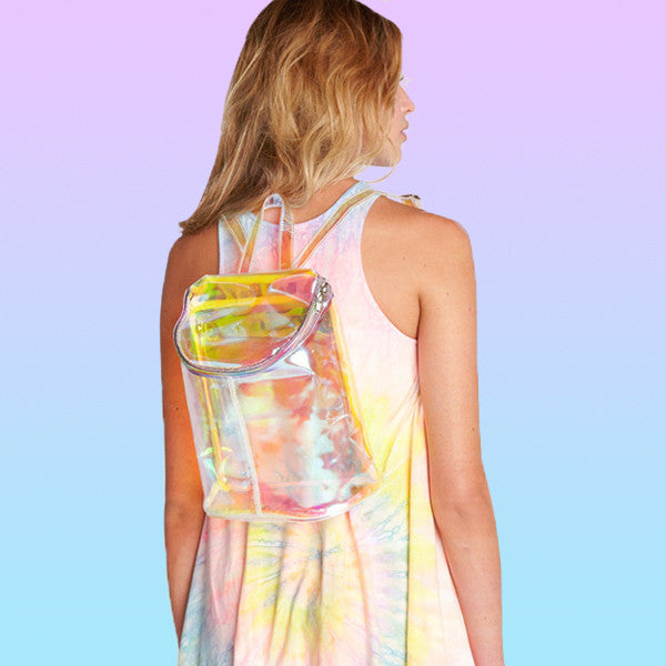 Holographic Zip Top Backpack - Very Peachy Clothing