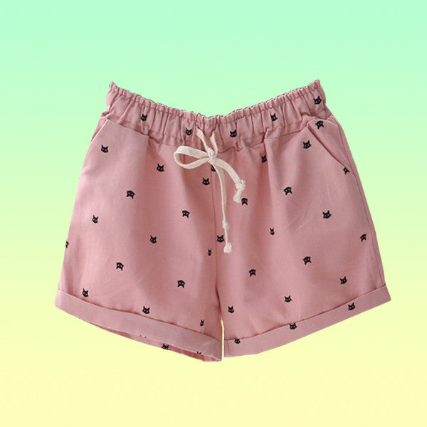 Kitten Drawstring Shorts - Very Peachy Clothing