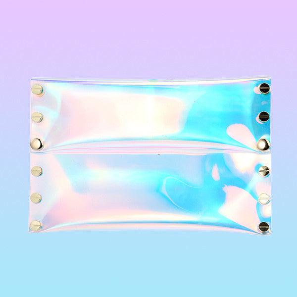 Holographic Studded Clutch - Very Peachy Clothing