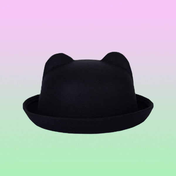 Wool Bowler Eared Hat - Very Peachy Clothing