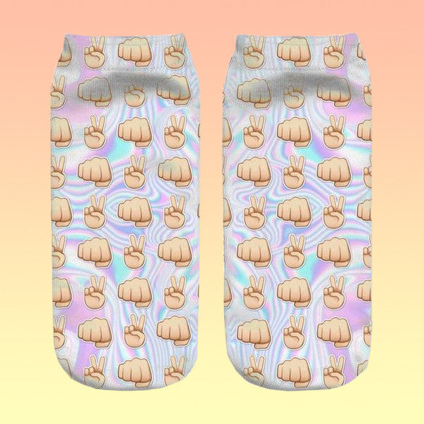 Emoji Holographic Socks - Very Peachy Clothing