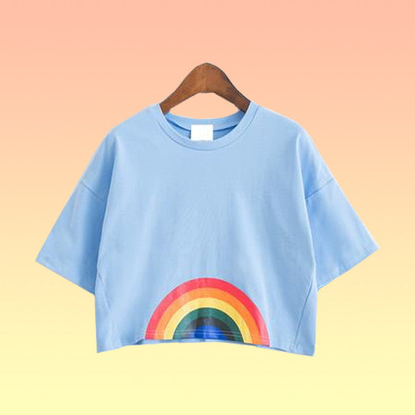 Rainbow Oversized Crop Top - Very Peachy Clothing