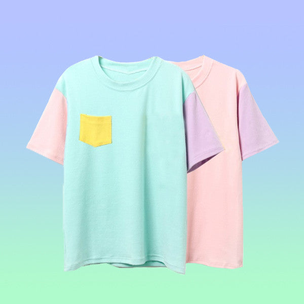 Pastel Colorblock Tshirt - Very Peachy Clothing