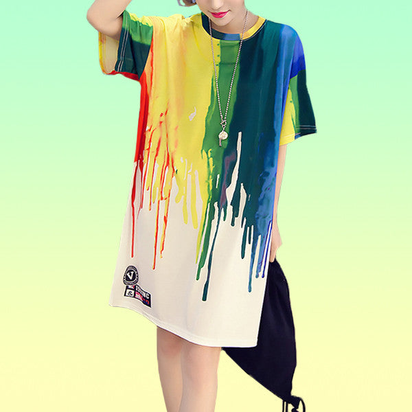 Rainbow Drip Jersey T-shirt Dress - Very Peachy Clothing