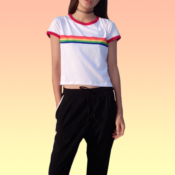 Rainbow Ringer Tee - Very Peachy Clothing