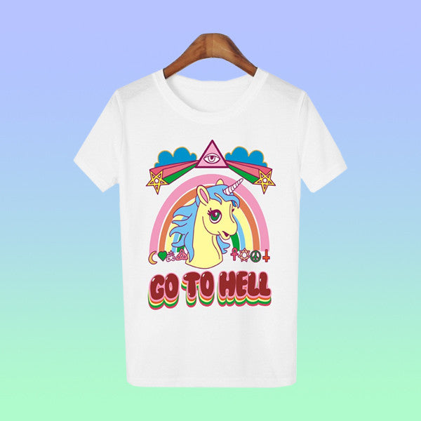 Unicorn Go To Hell Tee - Very Peachy Clothing