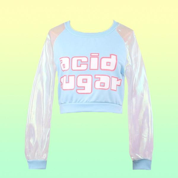 """Acid Sugar"" Holographic Sleeve Top - Very Peachy Clothing"