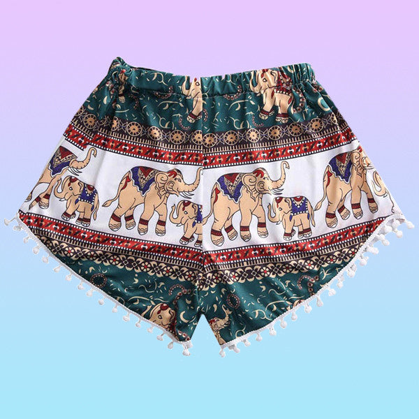 Elephant Print Tassel Shorts - Very Peachy Clothing