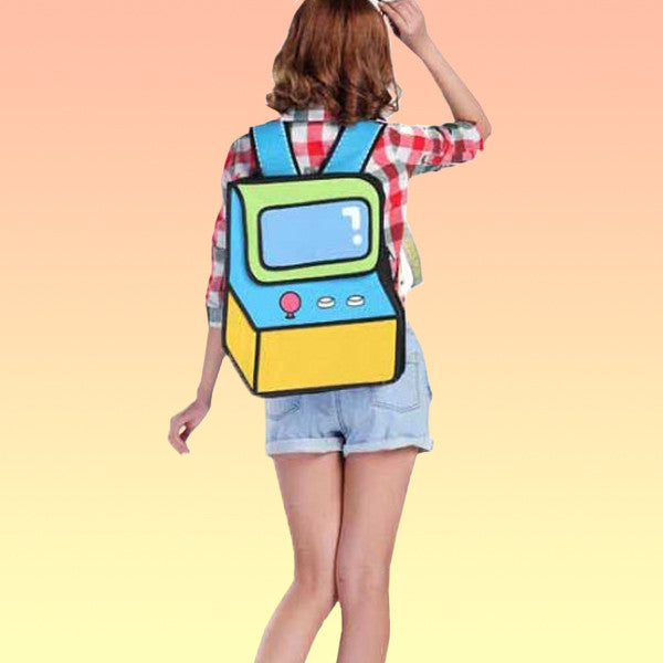 2D Cartoon Console Backpack - Very Peachy Clothing