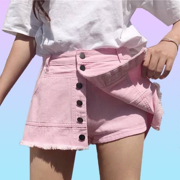 Denim Button Up Skort - Very Peachy Clothing