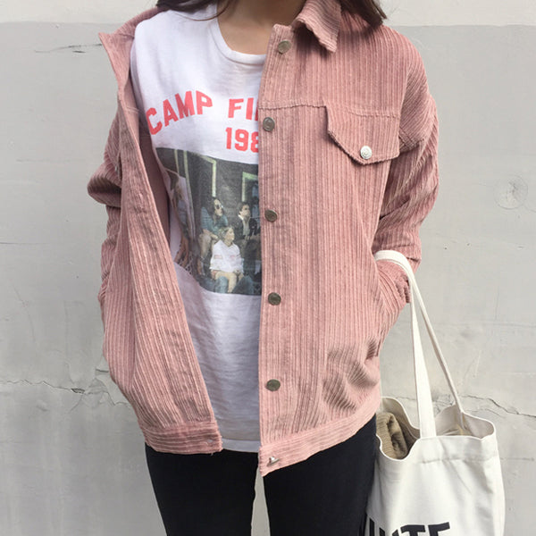Oversized Corduroy Jacket - Very Peachy Clothing