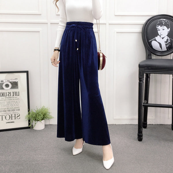 High Waisted Velvet Wide Leg Pants - Very Peachy Clothing