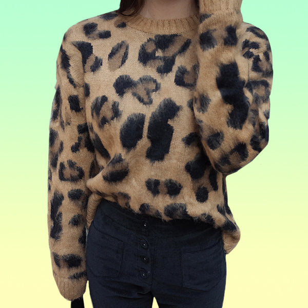 Soft Leopard Sweater - Very Peachy Clothing