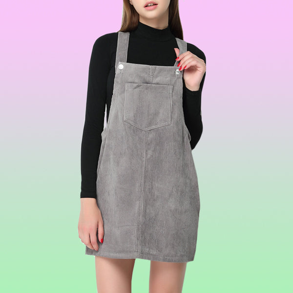Corduroy Overalls Mini Dress - Very Peachy Clothing