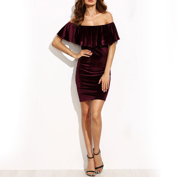 Off The Shoulder Velvet Ruffle Dress - Very Peachy Clothing