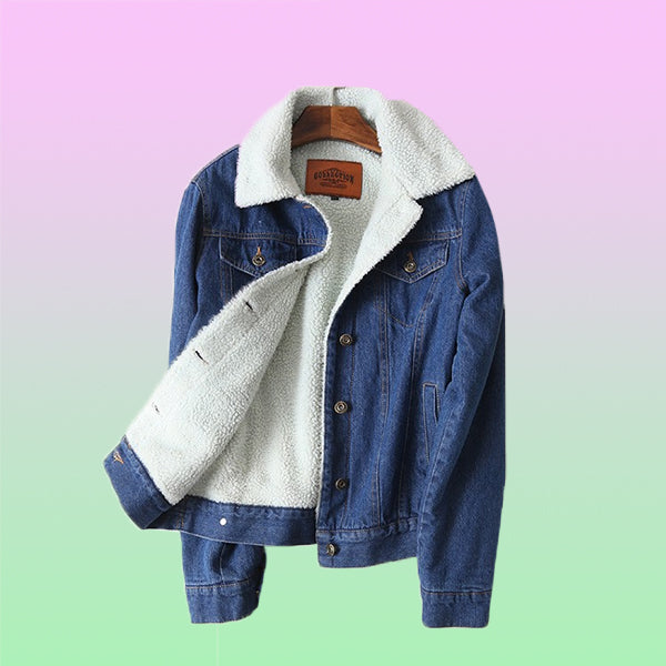Denim Sherpa Jacket - Very Peachy Clothing