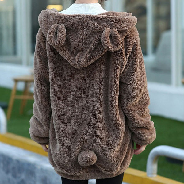 Cozy Bear Ear Fleece Jacket - Very Peachy Clothing