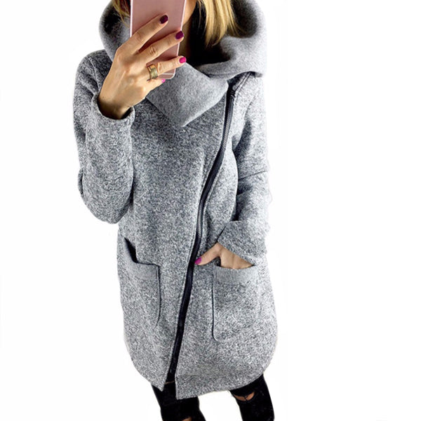 Asymmetric Zip Hooded Fleece Jacket - Very Peachy Clothing
