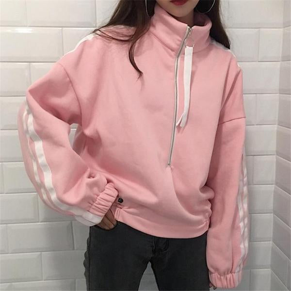 Pink Double Stripe Zip Top Pullover - Very Peachy Clothing