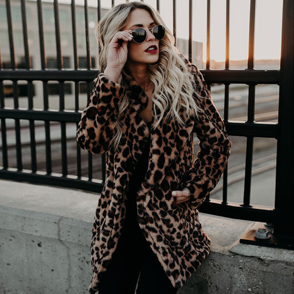 Fuzzy Faux Fur Leopard Coat - Very Peachy Clothing