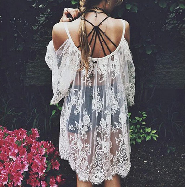 Lace Embroidered Beach Dress - Very Peachy Clothing