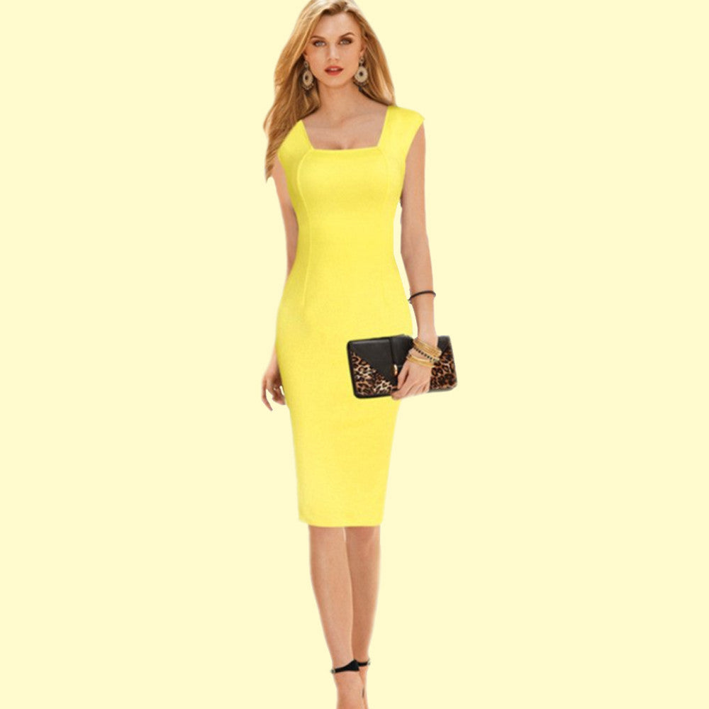Classic Knee Length Bodycon Sheath Dress - Very Peachy Clothing