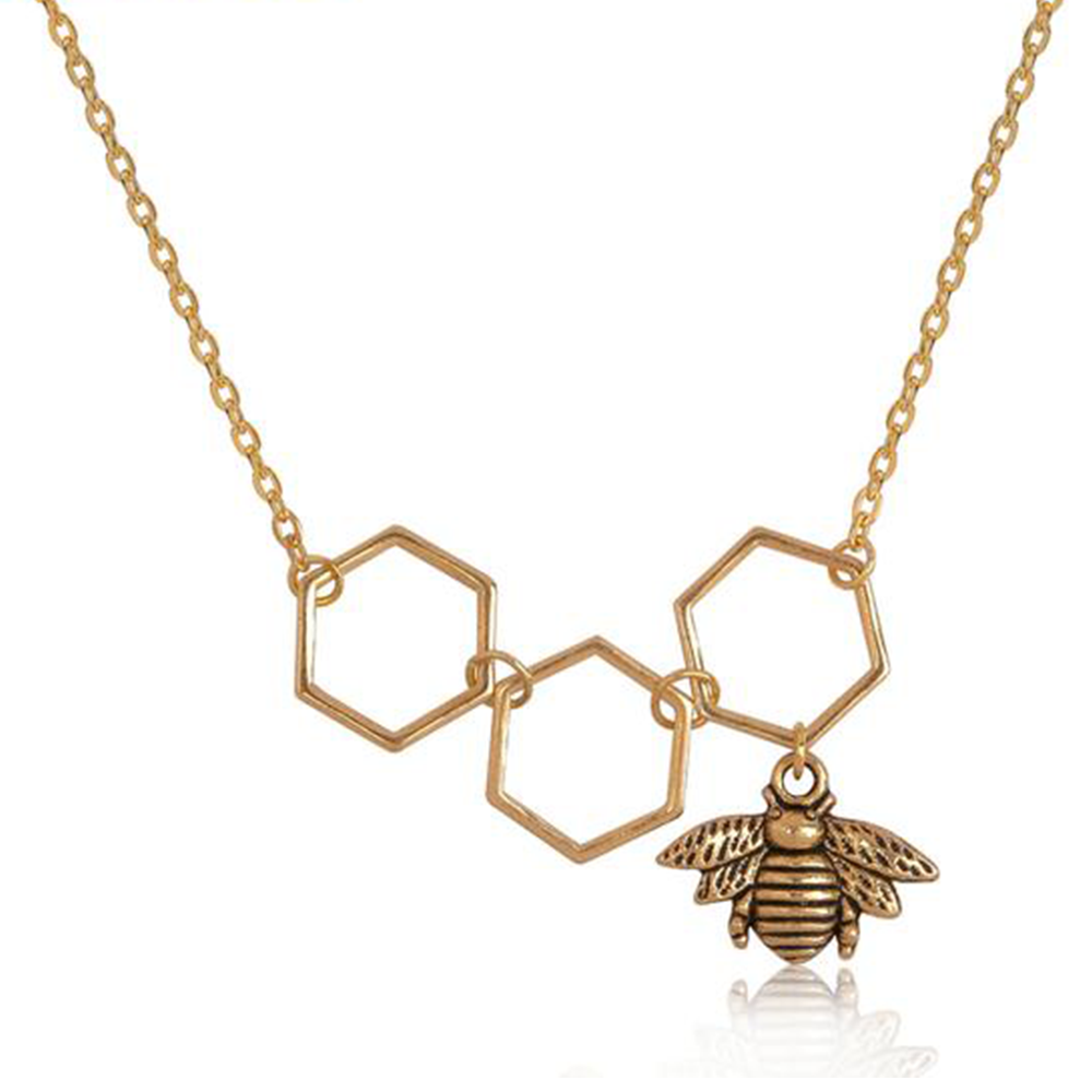 Bee Honeycomb Pendant Necklace - Very Peachy Clothing