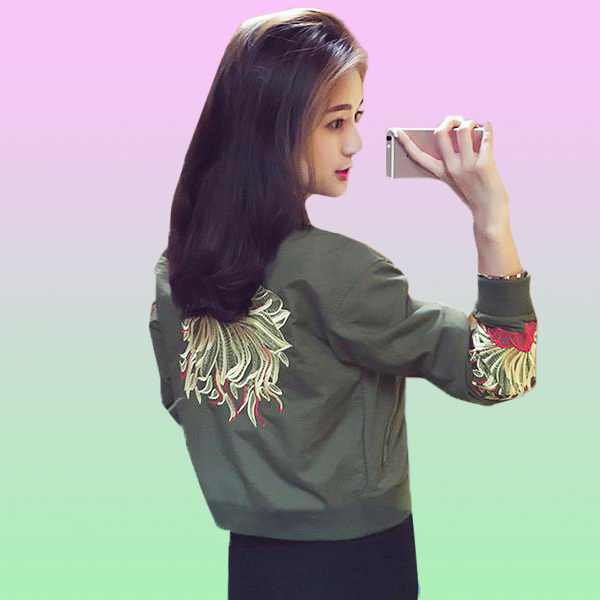 Floral Embroidered Basic Jacket - Very Peachy Clothing