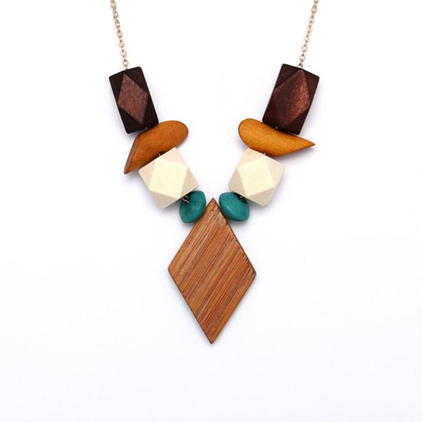 Boho Geometric Wood Pattern Necklace - Very Peachy Clothing