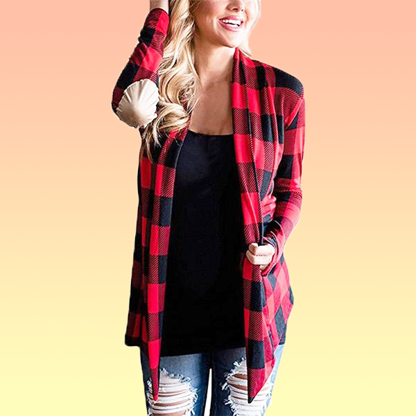 Plaid Patchwork Cardigan - Very Peachy Clothing
