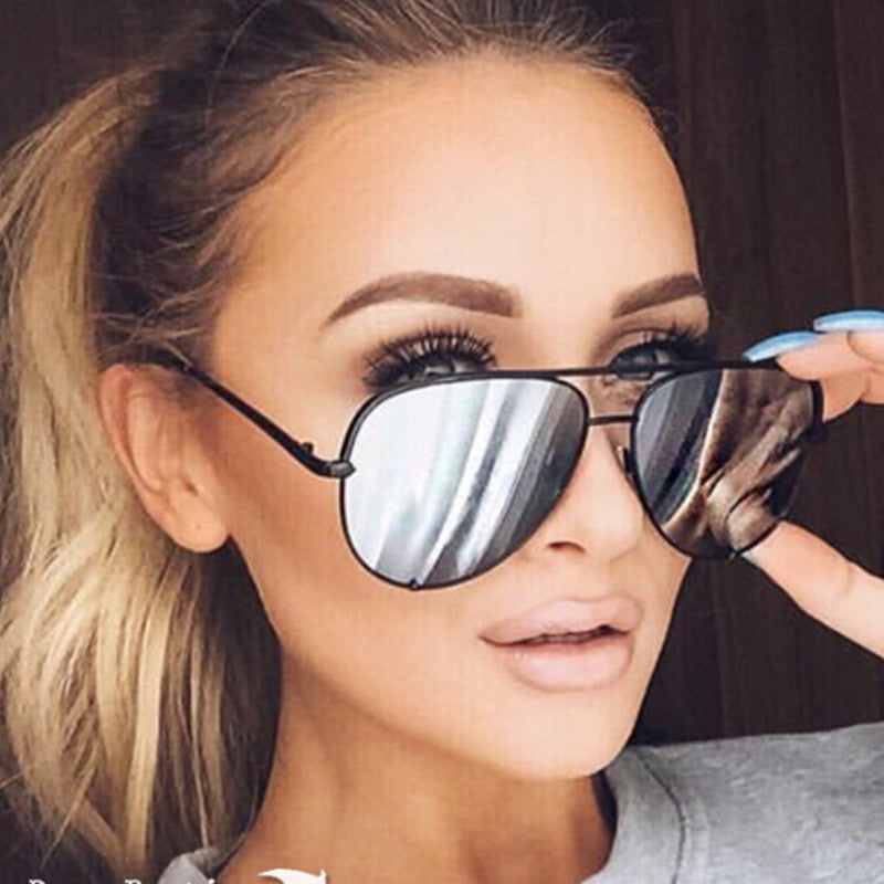 Oversized Silver Mirrored Aviator Sunglasses - Very Peachy Clothing
