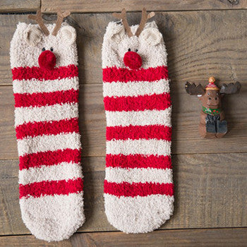 Reindeer Fuzzy Socks - Very Peachy Clothing