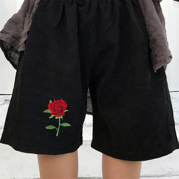 High Waisted Corduroy Rose Shorts - Very Peachy Clothing