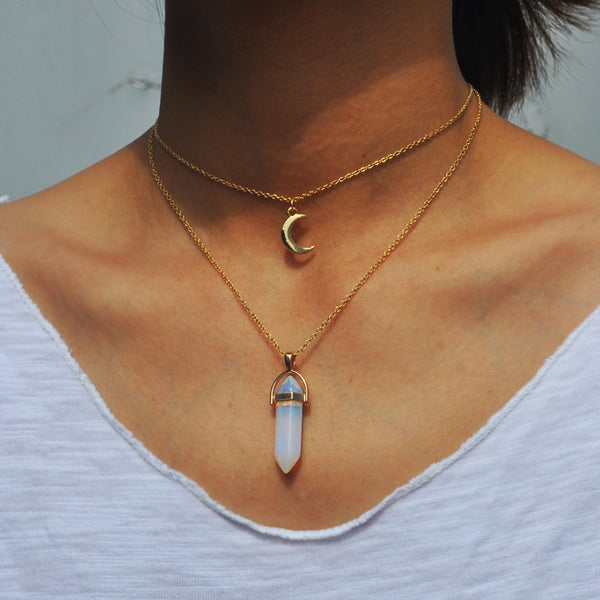 Moon Opal Crystal Double Layer Necklace - Very Peachy Clothing