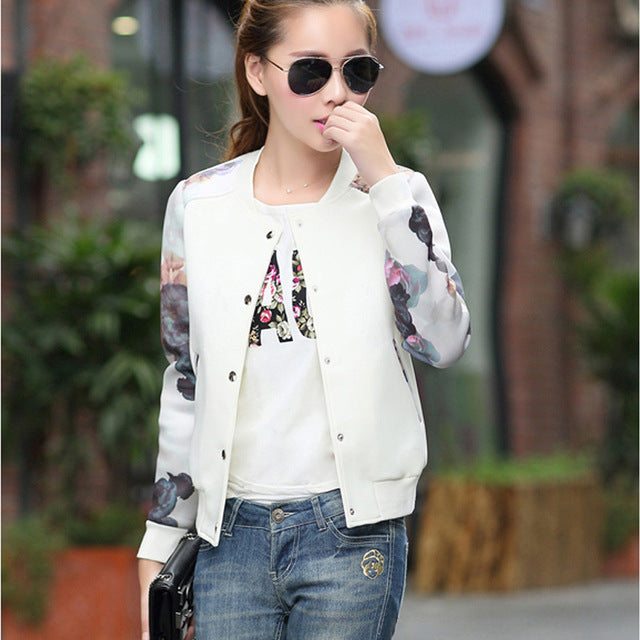 Casual Flower Print Bomber Jacket - Very Peachy Clothing