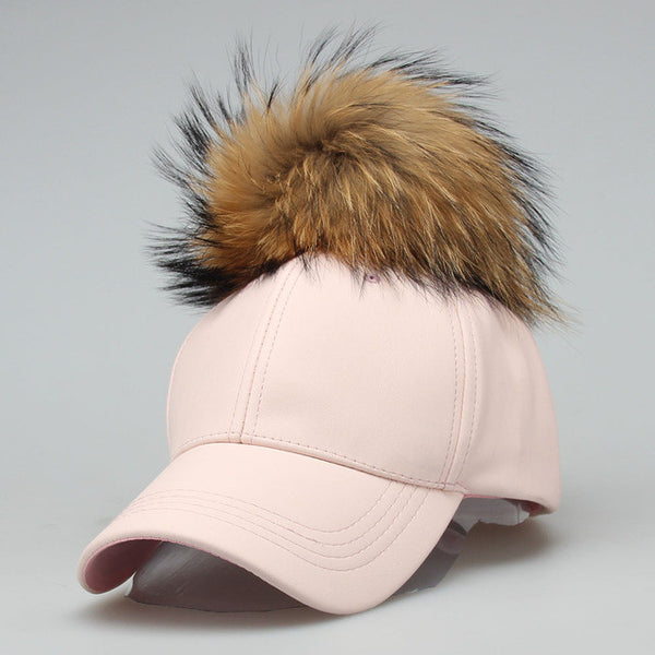 Fur Puff Faux Leather Snap Back - Very Peachy Clothing