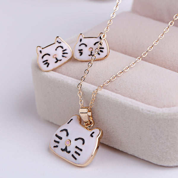 Kawaii Cat Dog Pendant Necklace - Very Peachy Clothing