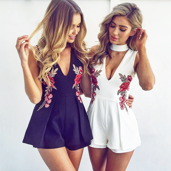 Deep V Collared Floral Romper - Very Peachy Clothing