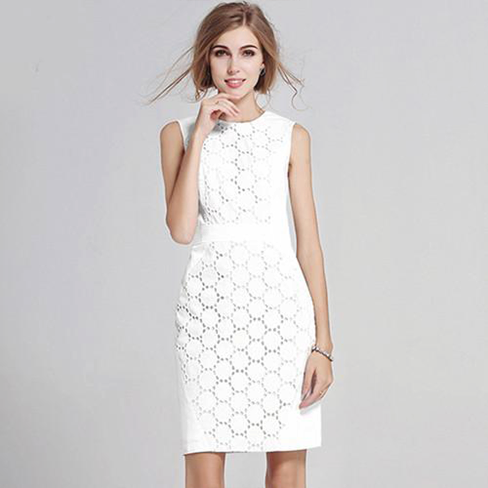 Sleeveless Lace Circle Pattern Dress - Very Peachy Clothing