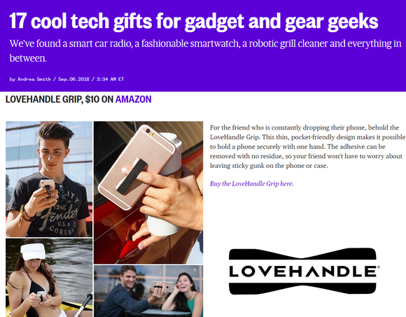 LoveHandle Phone Grip Named Cool Tech Gift by NBC News