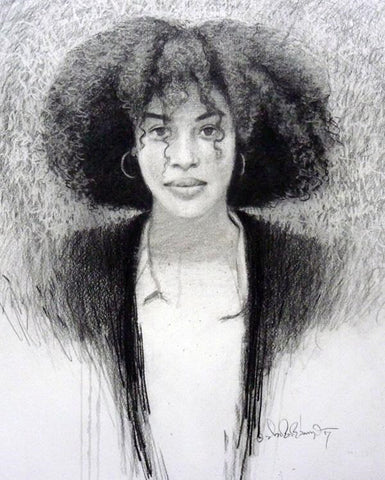 "Afro New Series (I), Charcoal on paper, 12"" x 14"""