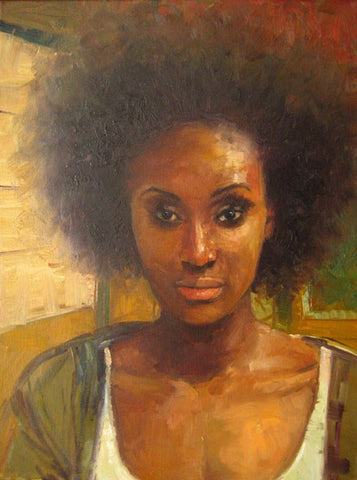 "AFRO XXVI, Oil on canvas, 12"" x 16"""